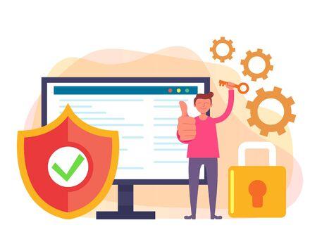Datenschutz-Sicherheitskonzept. Vector flaches Karikaturgrafikdesign lokalisierte Illustration
