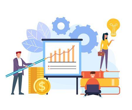 Successful business teamwork concept. Vector flat cartoon graphic design illustration