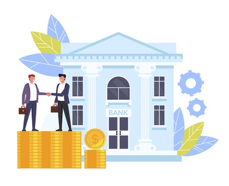 Business man people characters shaking hands. Banking deal contract concept. Vector flat cartoon graphic design isolated illustration Ilustração