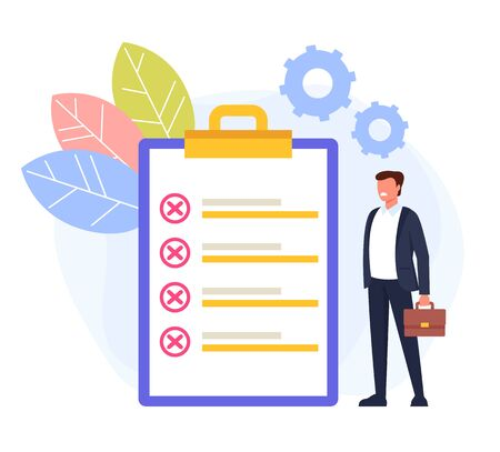 Unfinished to do list concept. Vector flat cartoon graphic design isolated illustration Illustration