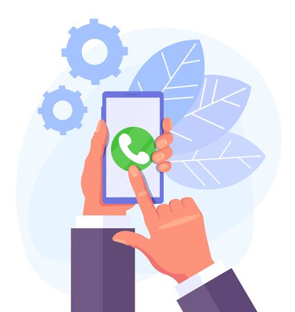 Hand holding phone. Phone call concept. Vector flat cartoon graphic design isolated illustration