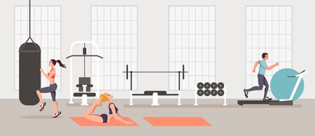 Sport people doing exercise in gym. Vector flat graphic design isolated illustration icon Illustration
