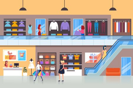 People characters consumers making purchases in shopping mall. Vector flat cartoon graphic design isolated illustration Illustration