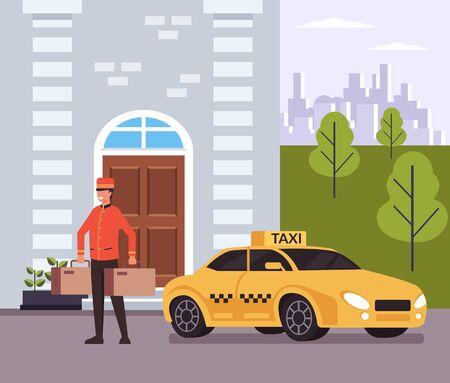 Concept de service de taxi de l'hôtel. Illustration vectorielle design graphique plat isolé