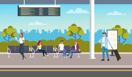 At the bus station. Transportation concept. Vector flat cartoon graphic design illustration