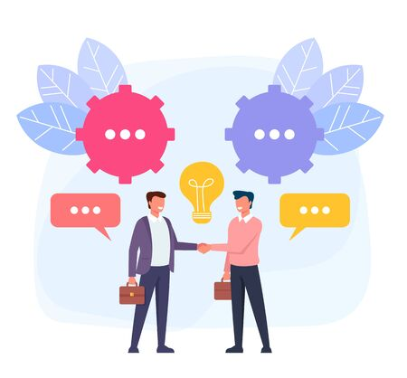 Two businessmen people characters shaking hands. Business deal concept. Vector flat cartoon graphic design illustration