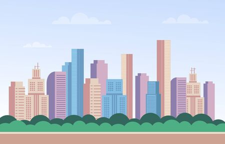 City town buildings skyscraper web banner poster concept. Vector flat cartoon graphic design illustration
