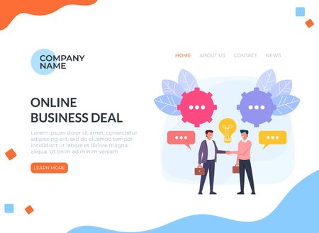 Two businessmen people characters shaking hands. Business deal web banner loading page concept. Vector flat cartoon graphic design illustration