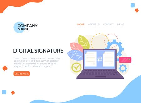 Digital signature electronic document management web banner loading page concept. Vector flat graphic design isolated illustration icon