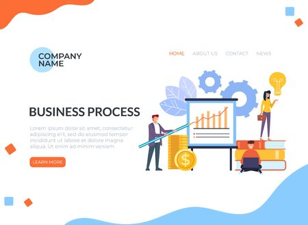 Successful business teamwork web banner loading page concept. Vector flat cartoon graphic design illustration