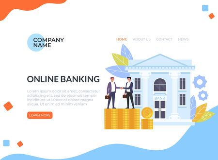 Business man people characters shaking hands. Banking deal contract web banner loading page concept. Vector flat cartoon graphic design isolated illustration