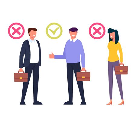 Workers candidate recruitment human resources concept. Vector flat cartoon graphic design isolated illustration Zdjęcie Seryjne - 127388236