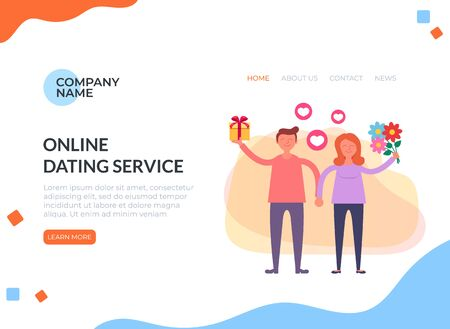 Virtual dating meeting by smartphone internet. Relationship lovers online by website web banner page. Zdjęcie Seryjne - 127959659