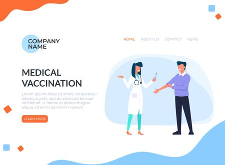 Injection man in hospital. Medicine web banner page concept.