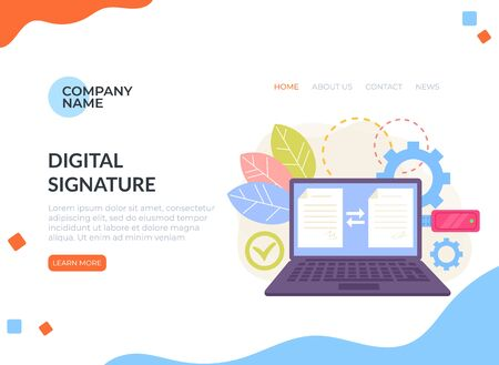 Digital signature electronic document management web banner page concept. Ilustracja