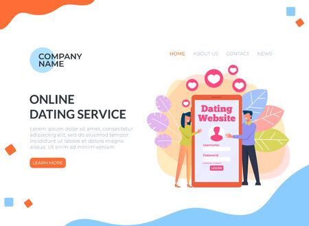 Virtual dating meeting by smartphone internet web banner page. Relationship lovers online by website. Ilustracja