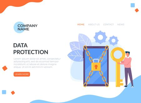 Man personal data privacy. Data protection online login password web banner page concept. Ilustracja