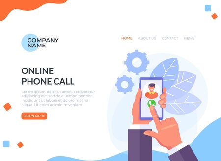 Hand holding phone. Phone call web banner page concept.