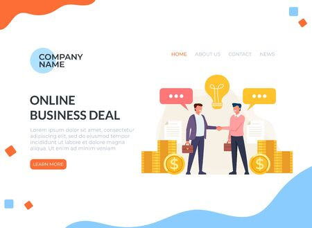 Business deal agreement web banner page concept. Zdjęcie Seryjne - 127959655