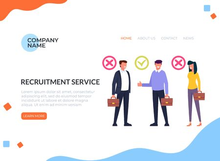Workers candidate recruitment human resources web banner page concept. Zdjęcie Seryjne - 127959662