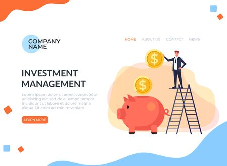 Concept de page de bannière web d'entreprise réussie d'investissement de grande banque.