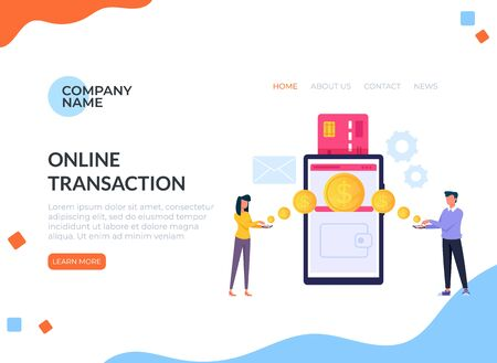 Two people characters making online money transaction exchanging. Online payment banner poster concept. Vector flat cartoon graphic design illustration