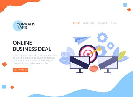 Online internet business deal banner poster concept. Vector flat cartoon design graphic isolated illustration
