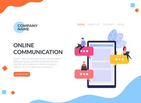 Online internet chat communication banner poster concept. Vector flat cartoon design graphic isolated illustration Ilustracja