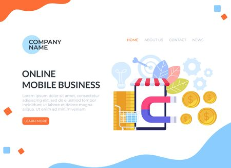 Successful e business shopping commerce management banner poster concept. Vector flat cartoon graphic design illustration