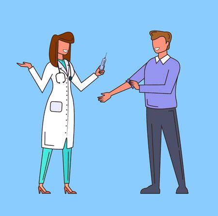 Injection man in hospital. Medicine line art concept. Vector flat cartoon graphic design illustration
