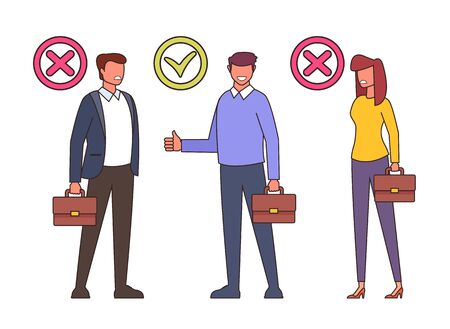 Workers candidate recruitment human resources line art concept. Vector flat cartoon graphic design isolated illustration Zdjęcie Seryjne - 129345463