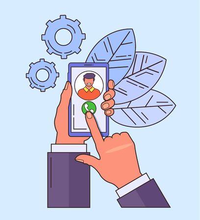 Hand holding phone. Phone call line art concept. Vector flat cartoon graphic design isolated illustration Zdjęcie Seryjne - 129345459