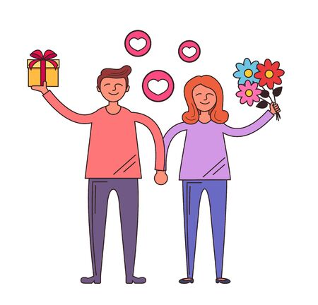 Happy smiling man and woman giving a present Dating relationship lovers line art concept. Vector flat cartoon design graphic isolated illustration