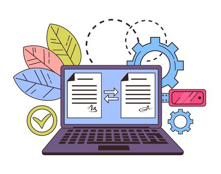 Digital signature electronic document management line art concept. Vector flat graphic design isolated illustration icon