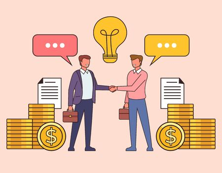 Business deal agreement line art concept. Vector flat cartoon graphic design isolated illustration