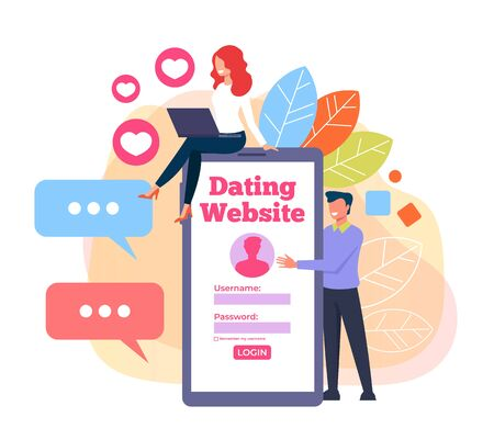 Two people couple communicate chatting by smartphone. Dating web site concept. Vector flat cartoon graphic design illustration