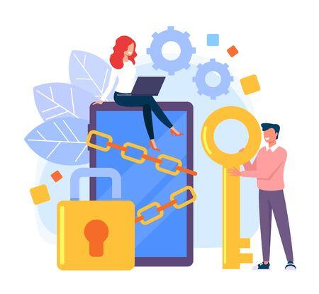 Personal data protection concept. Vector flat cartoon graphic design illustration Zdjęcie Seryjne - 129345486