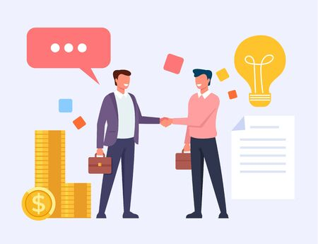 Two business man office workers people characters shaking hands. Vector flat cartoon graphic design illustration Zdjęcie Seryjne - 129345499