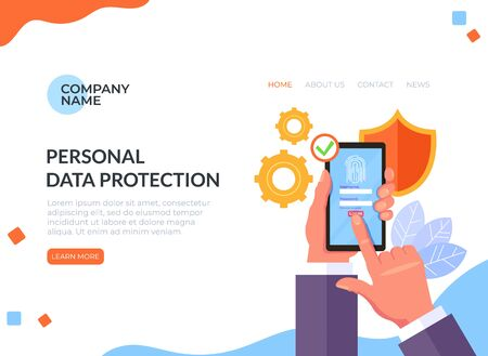 Personal data protection fingerprint concept. Vector flat cartoon graphic design illustration Ilustracja