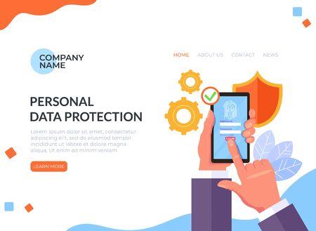 Personal data protection fingerprint concept. Vector flat cartoon graphic design illustration Illusztráció