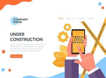 Under construction coming soon on phone concept. Vector flat cartoon graphic design illustration Zdjęcie Seryjne - 129345511