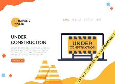 Under construction coming soon concept. Vector flat cartoon graphic design illustration Zdjęcie Seryjne - 129345504