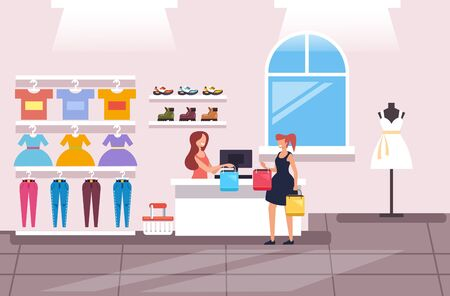 Shopping woman consumer making purchases concept. Vector flat cartoon graphic design isolated illustration Ilustracja