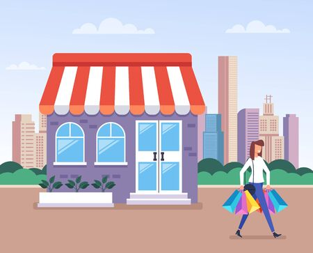 Shopping concept. Vector flat cartoon graphic design isolated illustration