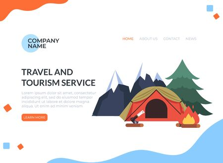 Hiking travel tourism concept. Vector flat cartoon graphic design isolated illustration Фото со стока - 129345520