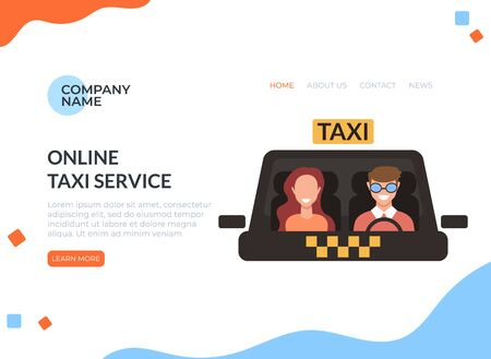 Online taxi service concept. Vector flat cartoon graphic design isolated illustration Zdjęcie Seryjne - 129345519
