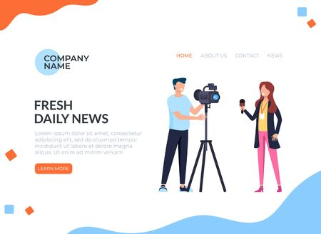 Fresh daily breaking news concept. Vector flat cartoon graphic design isolated illustration Ilustracja