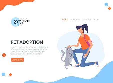 Pet adoption concept. Vector flat cartoon graphic design isolated illustration Ilustração