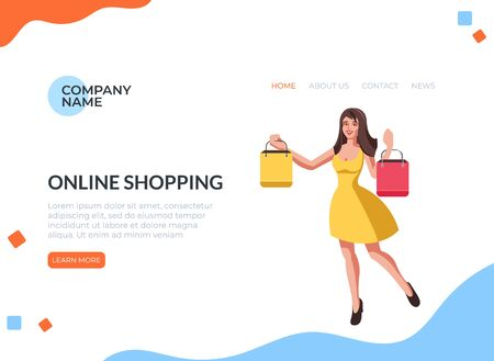 Online shopping concept. Vector flat cartoon graphic design isolated illustration Zdjęcie Seryjne - 129345527