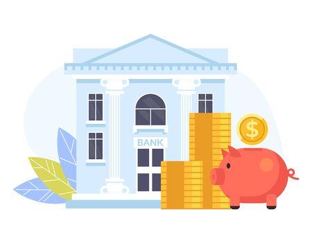 Concetto di affari bancari. Illustrazione isolata di progettazione grafica del fumetto piano di vettore Vettoriali